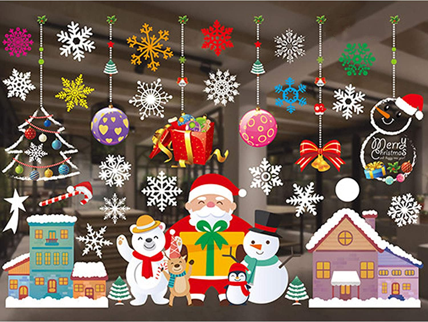 Christmas Window Glass Clings Stickers Decals Decoration PVC Xmas Snowflakes Decals Decorations,Merry Christmas Dress Up DIY Static Stickers Decals, Santa Claus Decals Decorations for Home and Shop