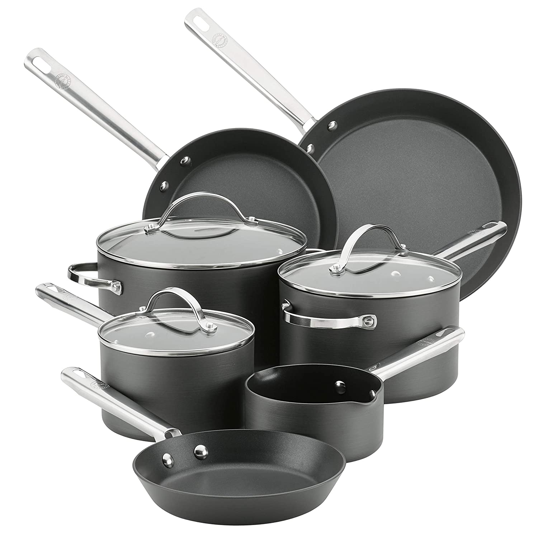 Anolon 83919 10-Piece Hard Anodized Aluminum Cookware Set, Gray