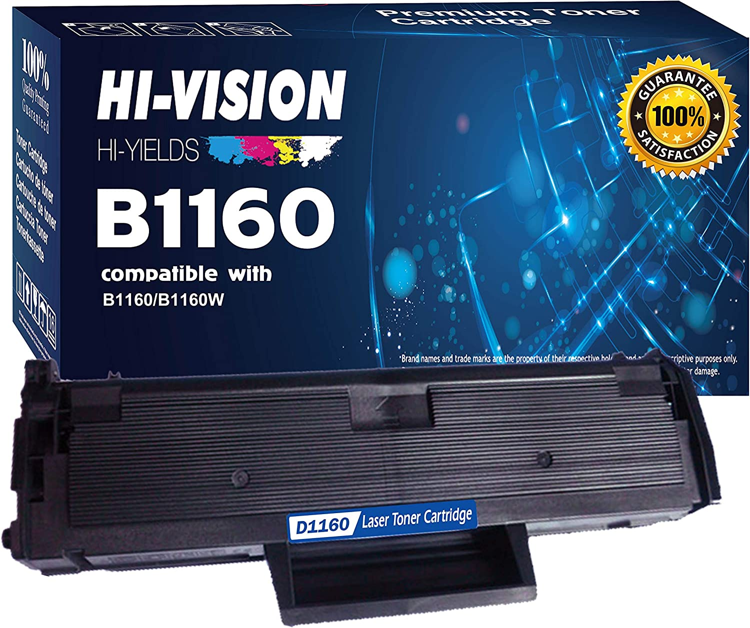 HI-VISION HI-YIELDS Compatible DELL B1160 1160 331-7335 (YK1PM, HF442) 1 Pack Black Toner Cartridge Replacement for Dell B1160,B1160W,B1163W,B1165nfw