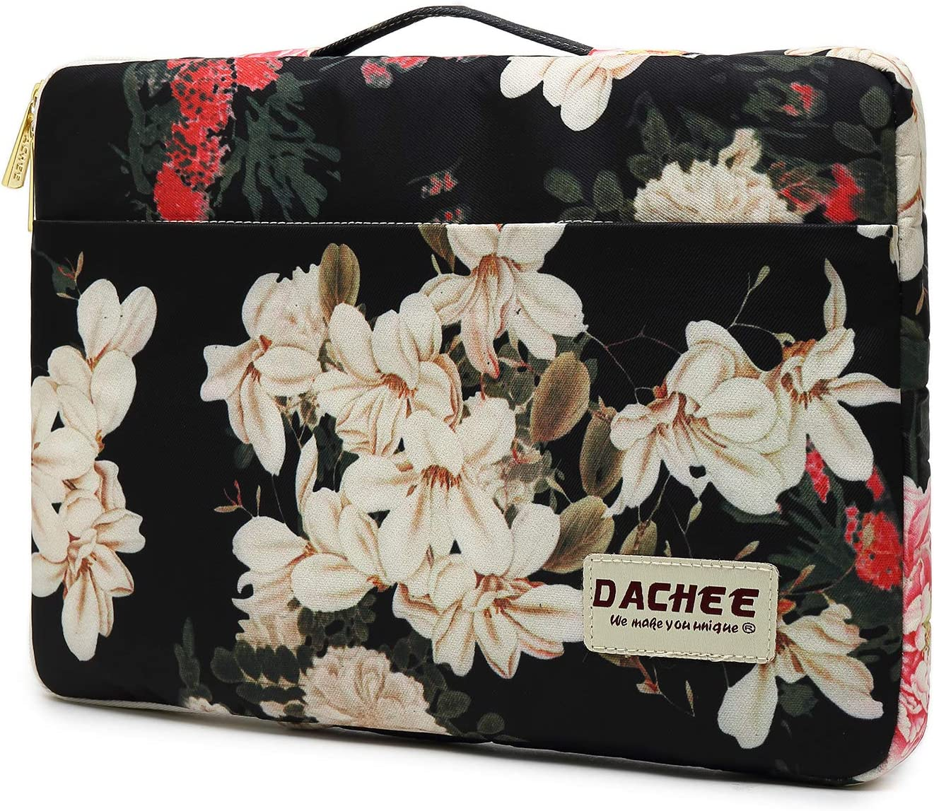 Dachee Black Peony Pattern 13 inch Canvas Laptop Sleeve with Pocket 13 inch 13.3 inch Laptop case 13 case 13 Sleeve