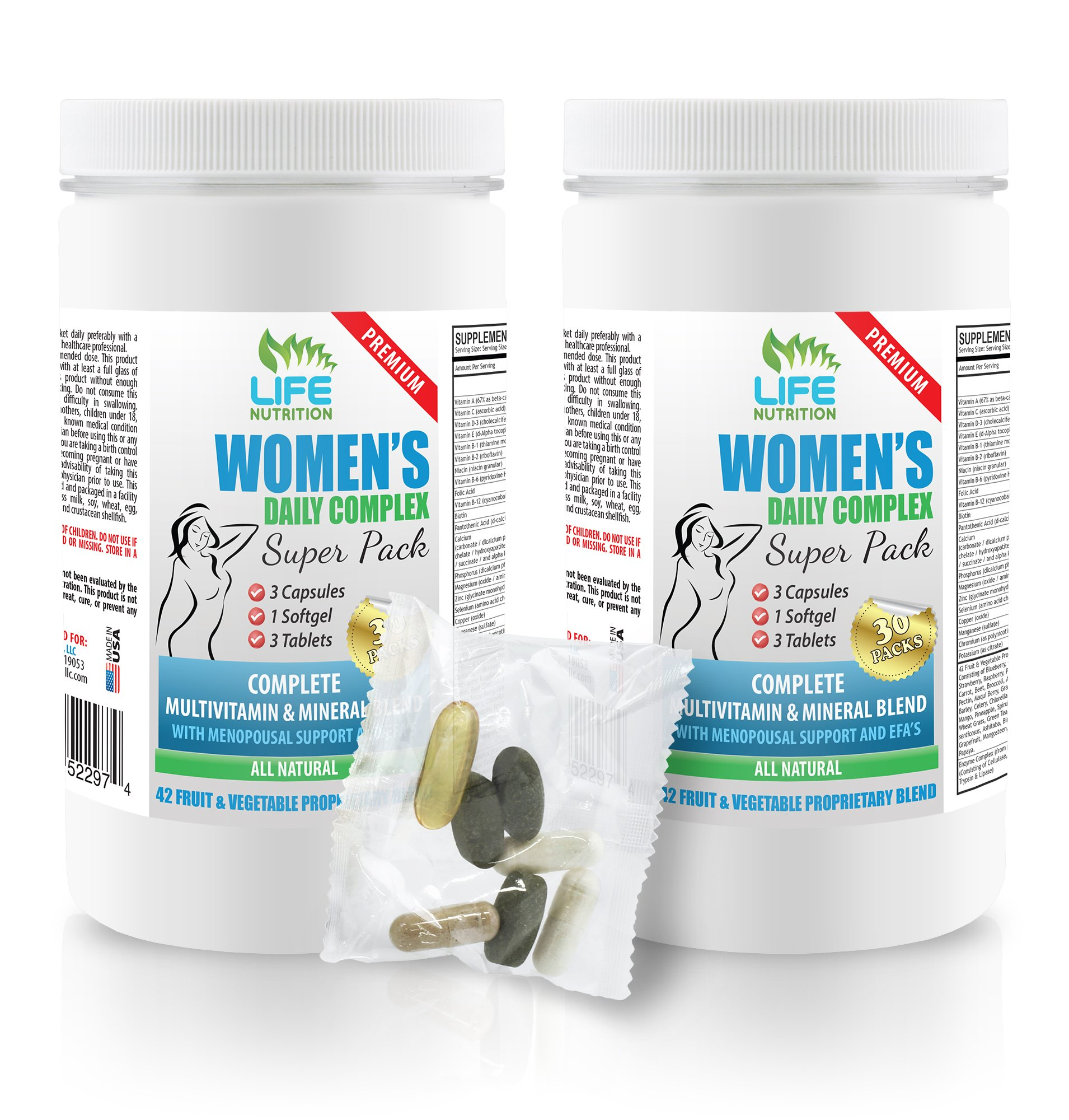 post menopause supplements - WOMEN'S DAILY PACK COMPLEX - licorice root capsules - 2 Bottles (60 Packs)