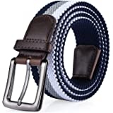 ITIEZY Cintura Elastica Intrecciata Uomo Pelle Nero Blu Casuale Moda