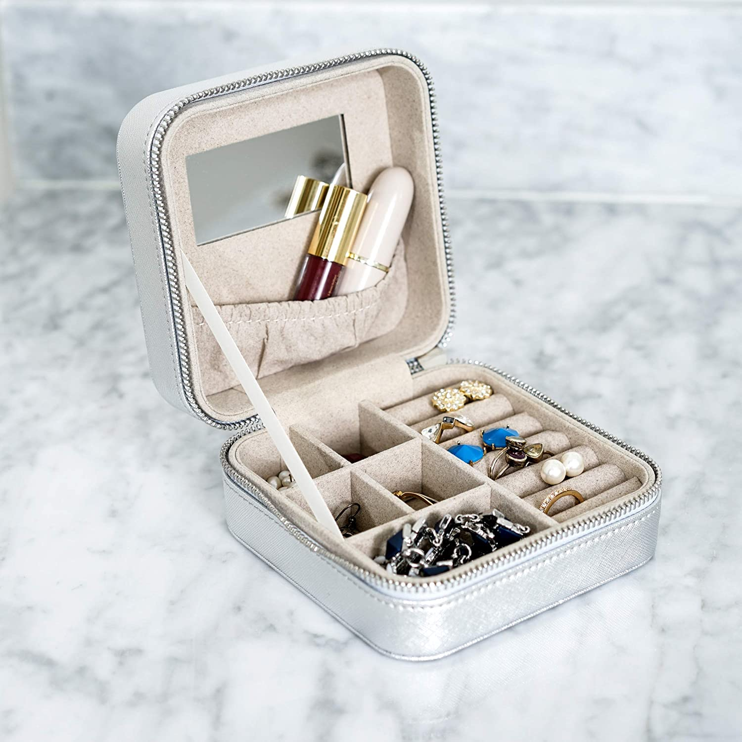 Hives and Honey Silver Metallic Jewelry Travel Case