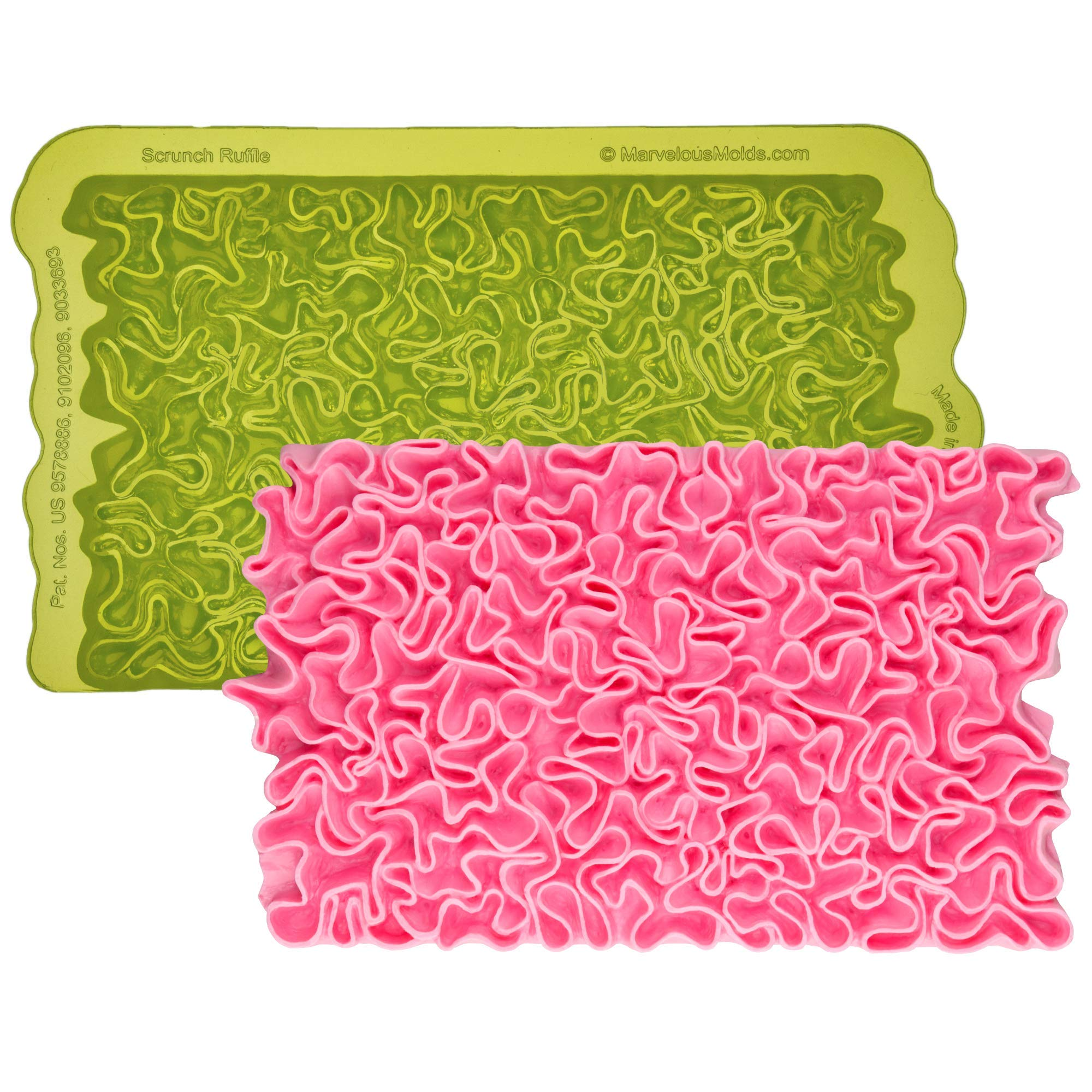 Marvelous Molds Scrunch Ruffle Simpress Silicone Mold | Cake Decorating with Fondant, Gumpaste Icing
