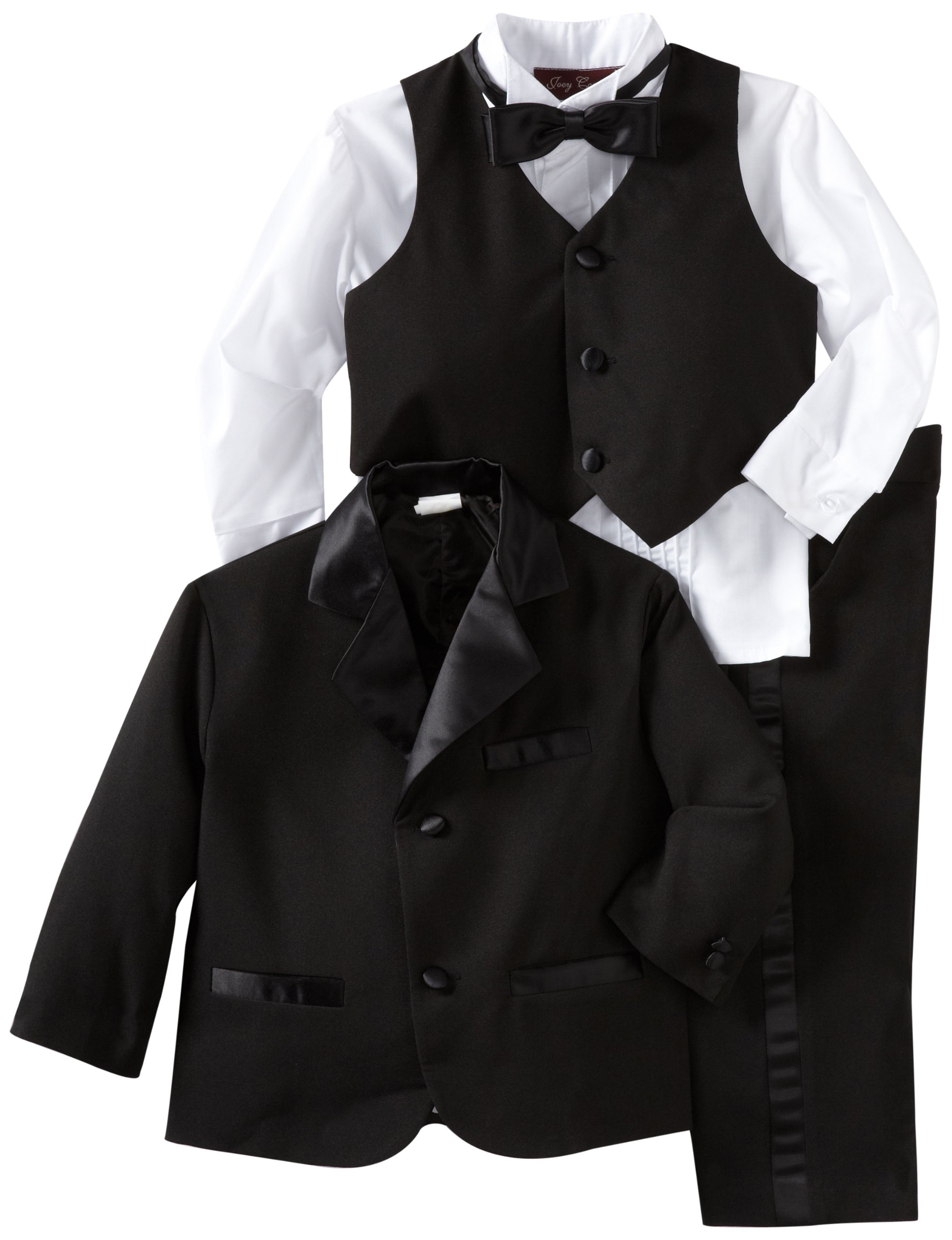 Joey Couture Boys Little Tuxedo No Tail Suit, Black, 3