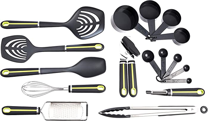 AmazonBasics 17-Piece Tools and Gadget Set, Soft Grip Handle, Grey and Green
