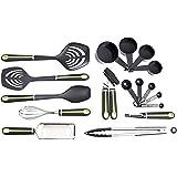 Amazon Basics 17-Piece Tools and Gadget Set, Soft Grip Handle, Grey and Green