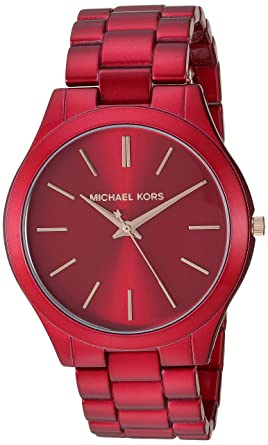 22fe6000d Michael Kors Women's Slim Runway Quartz Watch with Stainless-Steel-Plated  Strap, red