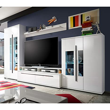 Möbel Akut Wohnwand Long Anbauwand Wohnkombi in weiß Hochglanz Vitrinen mit  LED-Beleuchtung