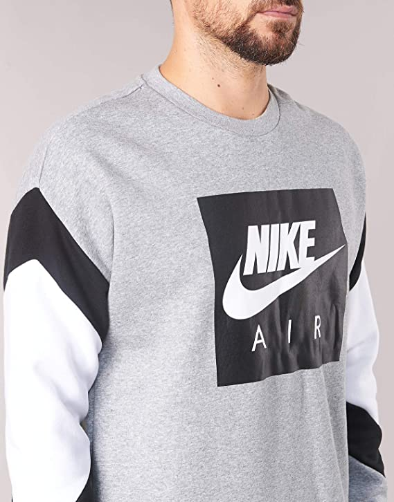 Nike Herren Crew Fleece Air Longsleeve, Dark Grey Heather