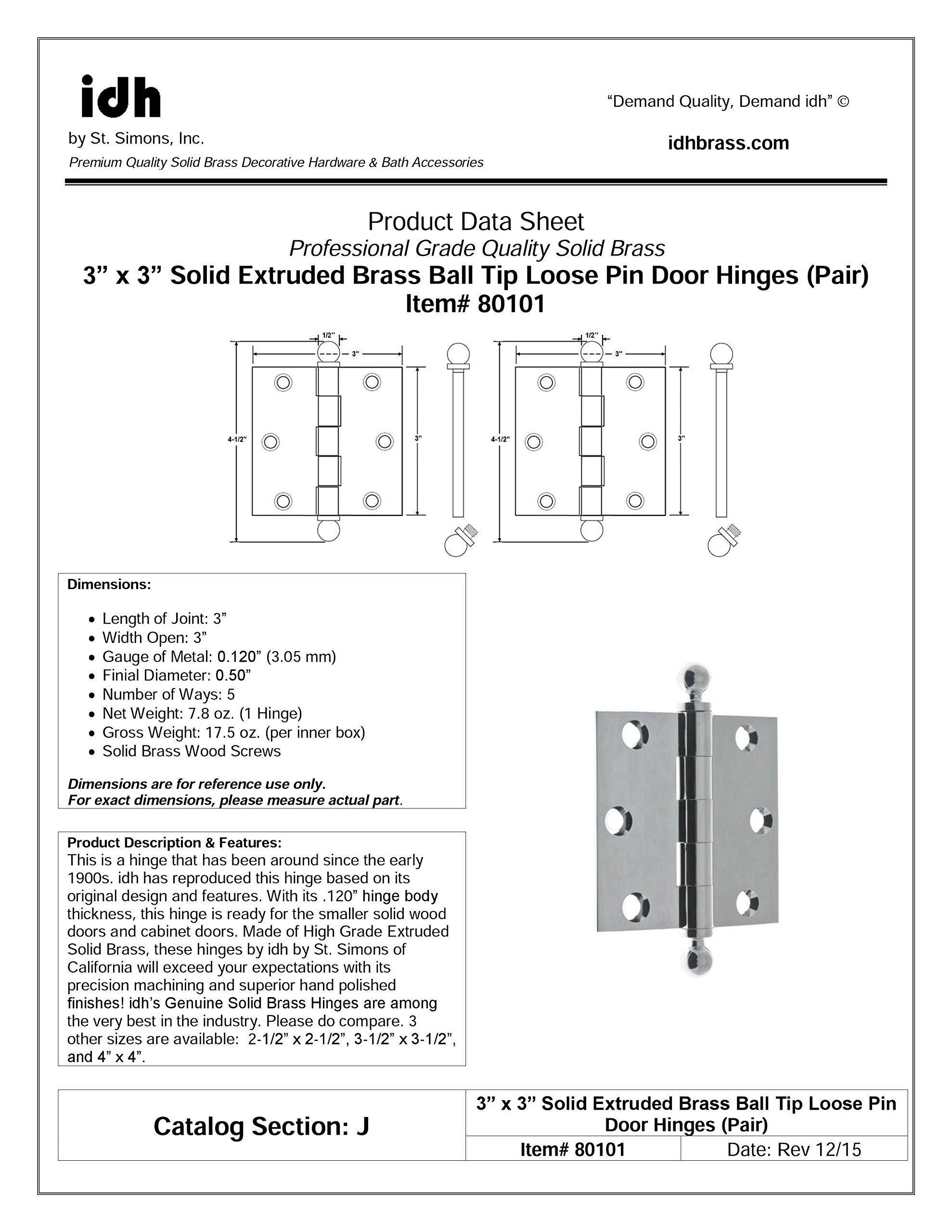 Professional Grade Quality Genuine Solid Brass 3'' x 3'' Loose Pin Hinges (Pair) by idh (Oil-Rubbed Bronze)