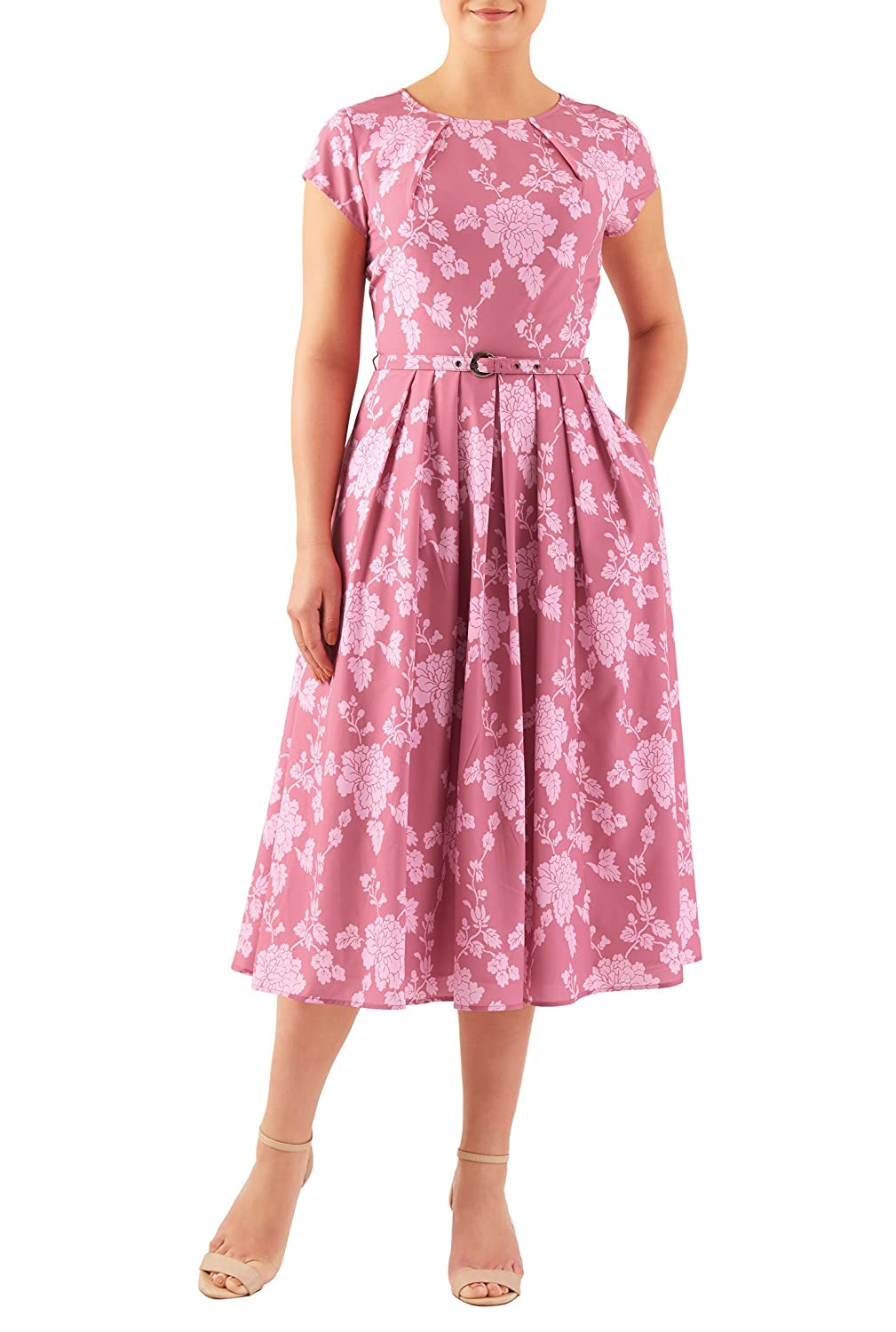 1950s Day Dresses eShakti Womens Pleat neck belted floral print crepe dress $59.95 AT vintagedancer.com