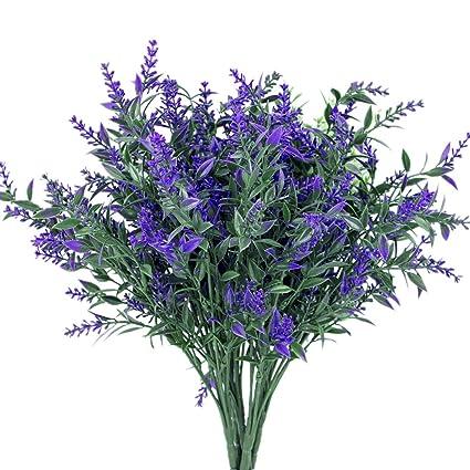 6pcs Artificial Plants Purple Lavender Simulation Greenery Bushes Wedding Decor