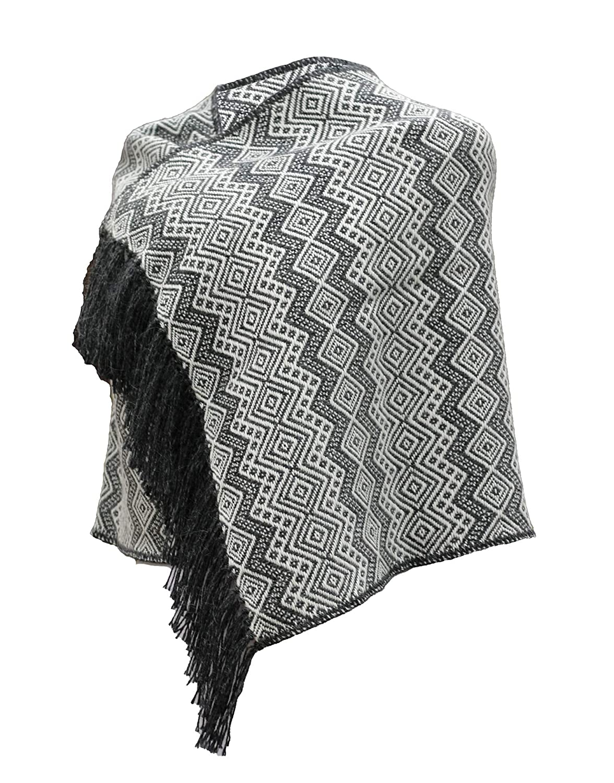 Braun mit grauen Fransen TINKUY PERU Damen Umhang aus peruanischer Alpakawolle