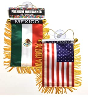 Mexico Car Flag Mexican American 2 Sides 1 Car Automobile Home Flag