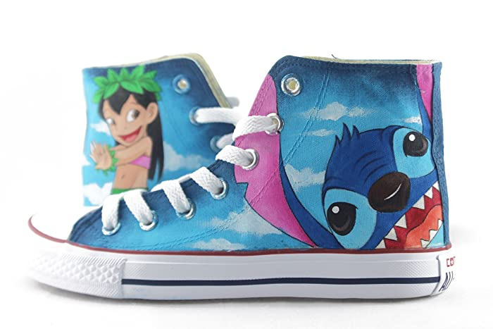 2e1a381d47d6a Amazon.com: Sneakers Lilo and Stitch Anime Shoes Hand Painted Canvas ...