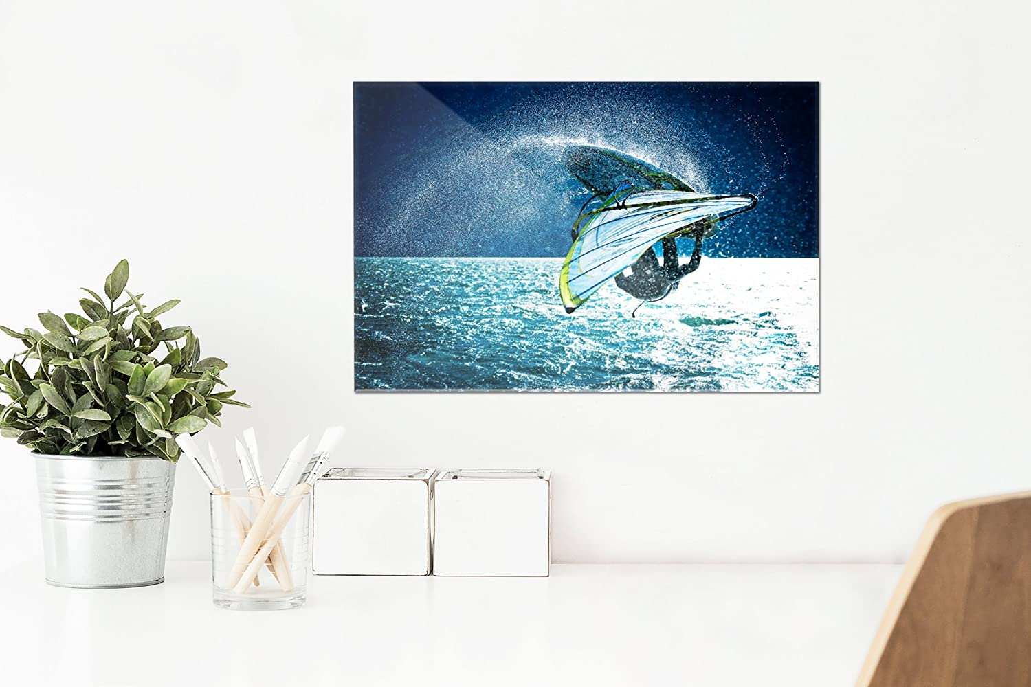 12x8 Acrylic Photo Block Gallery Quality Windsurfer Jumping