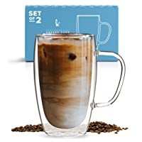 Coffee or Tea Glass Mugs Set of 2,15oz Double Wall Thermo Insulated Cups with Handle, Latte Cappuccino Espresso Glassware