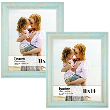 Langdons 11x14 Real Wood Picture Frames (2 Pack, Eggshell Blue - Gold Accents), Wooden Photo Frame 11 x14, Wall Mount or Table Top, Set Of 2 Lumina Collection