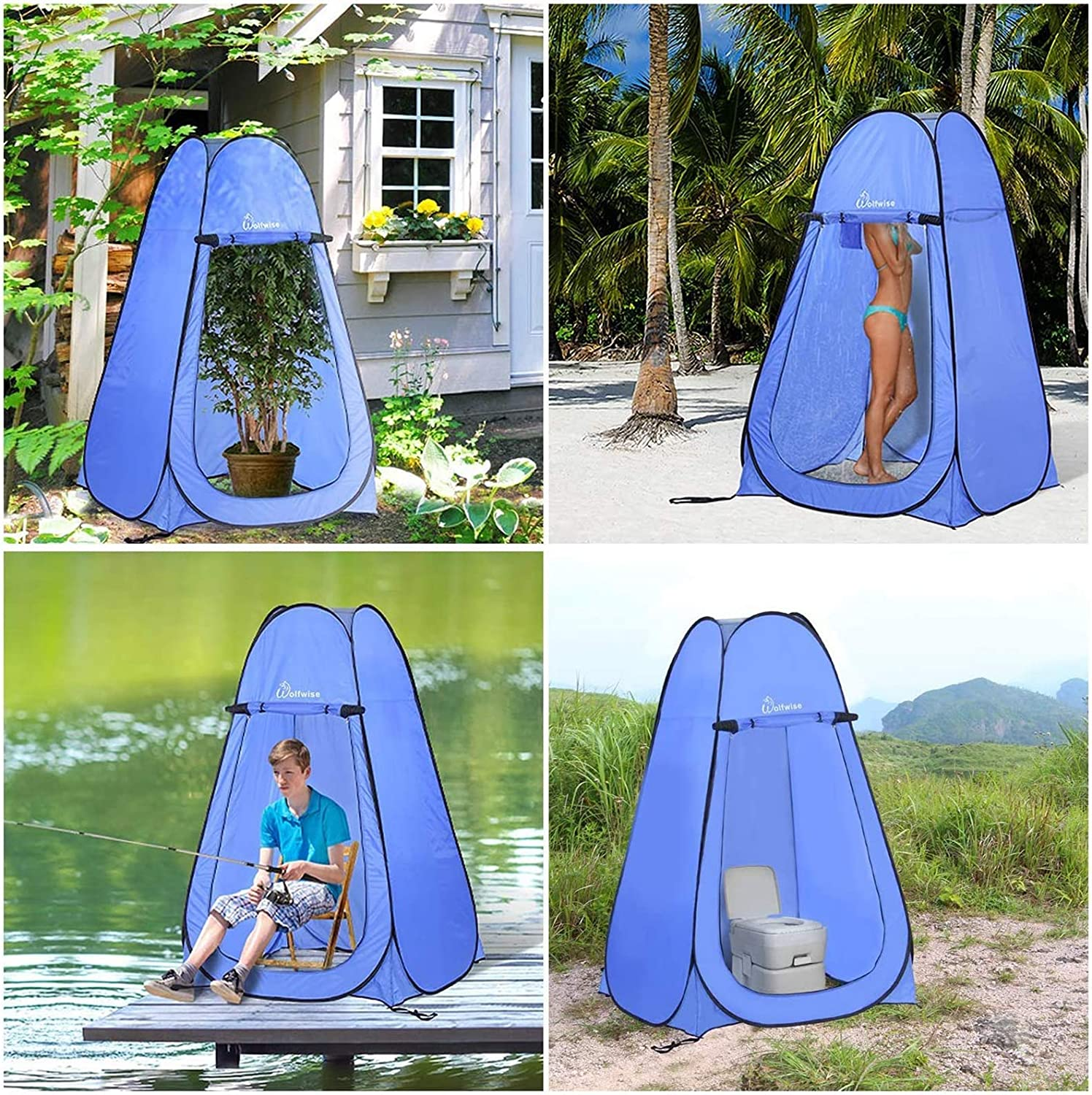 WolfWise Pop-up Shower Tent Green 2day Ship for sale online