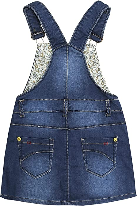 Kidscool Space Baby/&Little Girls Flower Embroidered Washed Cotton Denim Overalls