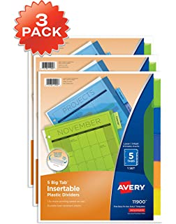 avery 5 tab plastic binder dividers insertable multicolor big tabs 3 sets