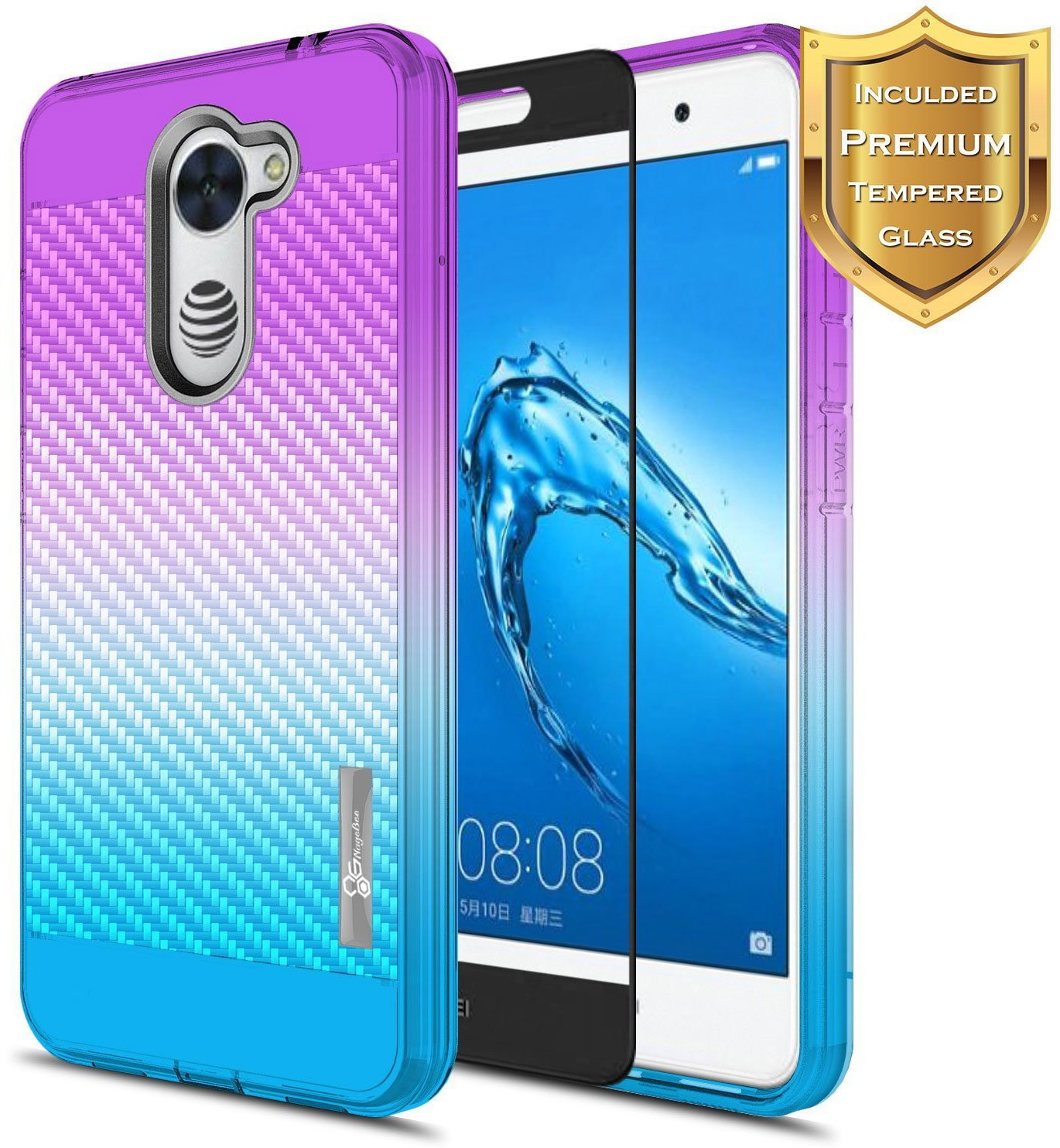 NageBee for Huawei Ascend XT 2 Case with [Full Cover Tempered Glass Screen  Protector] [Frost Clear] [Carbon Fiber] Slim Soft Cover Case for Huawei