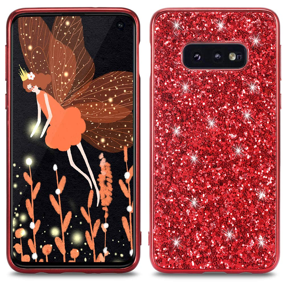 WIWJ Compatible with Samsung Galaxy S10E Glitter Case,Soft TPU Rubber Silicone Cover Slim Bling Sparkle Case for Girls Women Shockproof Protective Phone Case For Samsung Galaxy S10E-Blue