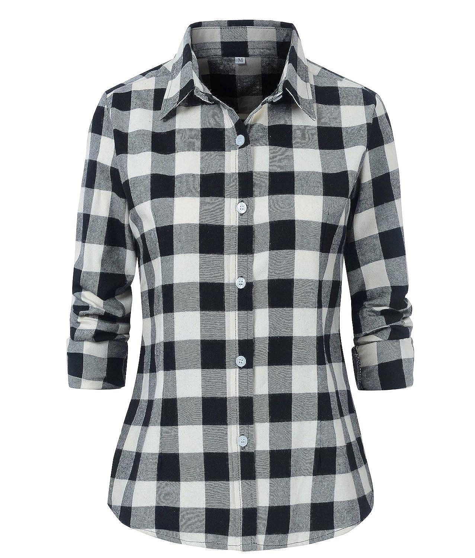 Benibos Women's Check Flannel Plaid Long Sleeve Shirt
