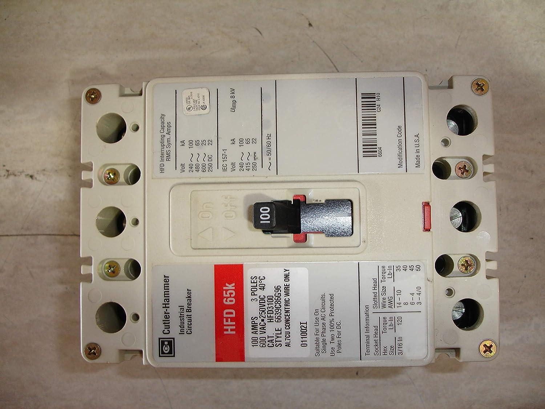 New Cutler-Hammer Eaton HFD3100 Circuit Breaker 3 Pole 100A 600V HFD Frame 65kA