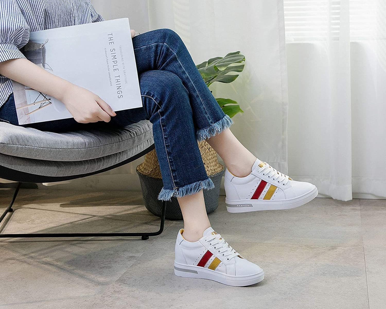KPHY Damenschuhe Frauen und Schuhe Leder Mode Sport Freizeit Gelb Gelb Gelb 35 3ad51d