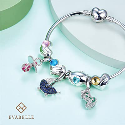 Buy Evabelle Cute Baby Stroller Pram Dangle Charms For Pandora Bracelets Necklaces 925 Sterling Silver Plated 18k White Gold With Sapphire Pendant Bead Charm Baby Shower Gifts New Mom Gifts For Women Online