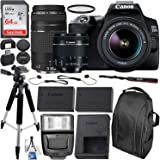 Canon EOS 250D (Rebel SL3) DSLR Camera with 18-55mm & 75-300mm Canon Lenses & Essential Accessory Bundle – Includes: SanDisk