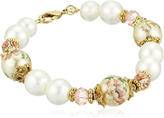product image for 1928 Jewelry Womens Gold Tone Flower Decal Pearl & Pearl Strand Bracelet, Multi, 7.5