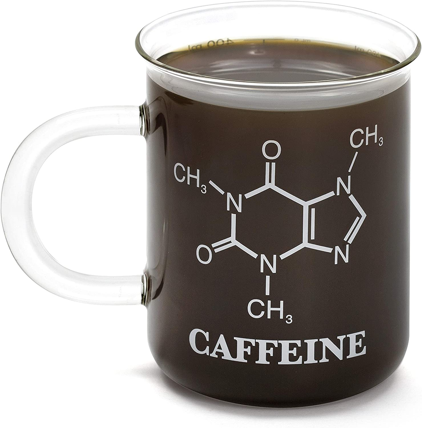 Amazon Com Thumbs Up Uk Glass Chemistry Caffeine Mug One Size Clear Kitchen Dining