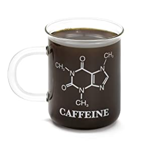Thumbs Up UK Glass Chemistry Caffeine Mug, One-Size, Clear