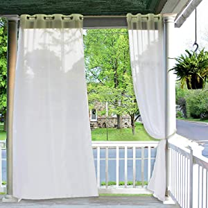 RYB HOME Outdoor Curtains Sheer - Linen Look White Sheer Drapes Waterproof, Sun Light Glare Filter Panels for Outside Wedding Lanai Patio Balcony Terrace Decor, 2 Ropes, 54 x 120 inch, 2 Panels