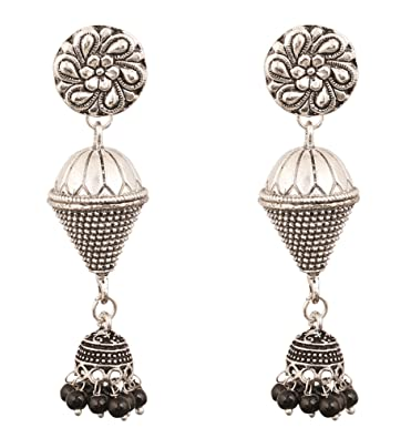 ade498948 Touchstone Tribal Bohemian Chic Gypsy Indian Jewelry-Afghani Drum Shape Bead  Designer Jhumki Earrings Hung