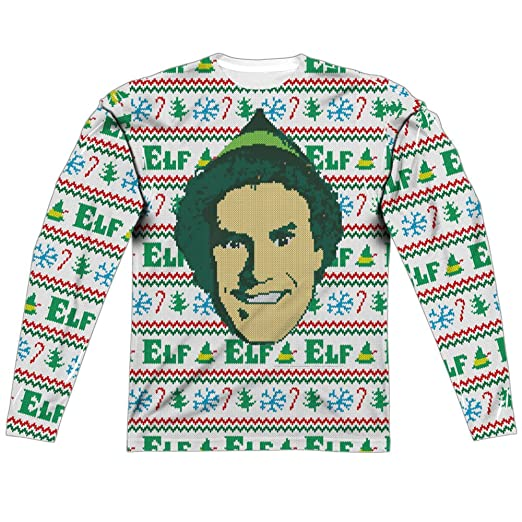 Amazoncom Ugly Christmas Sweater Elf The Movie All Over Long