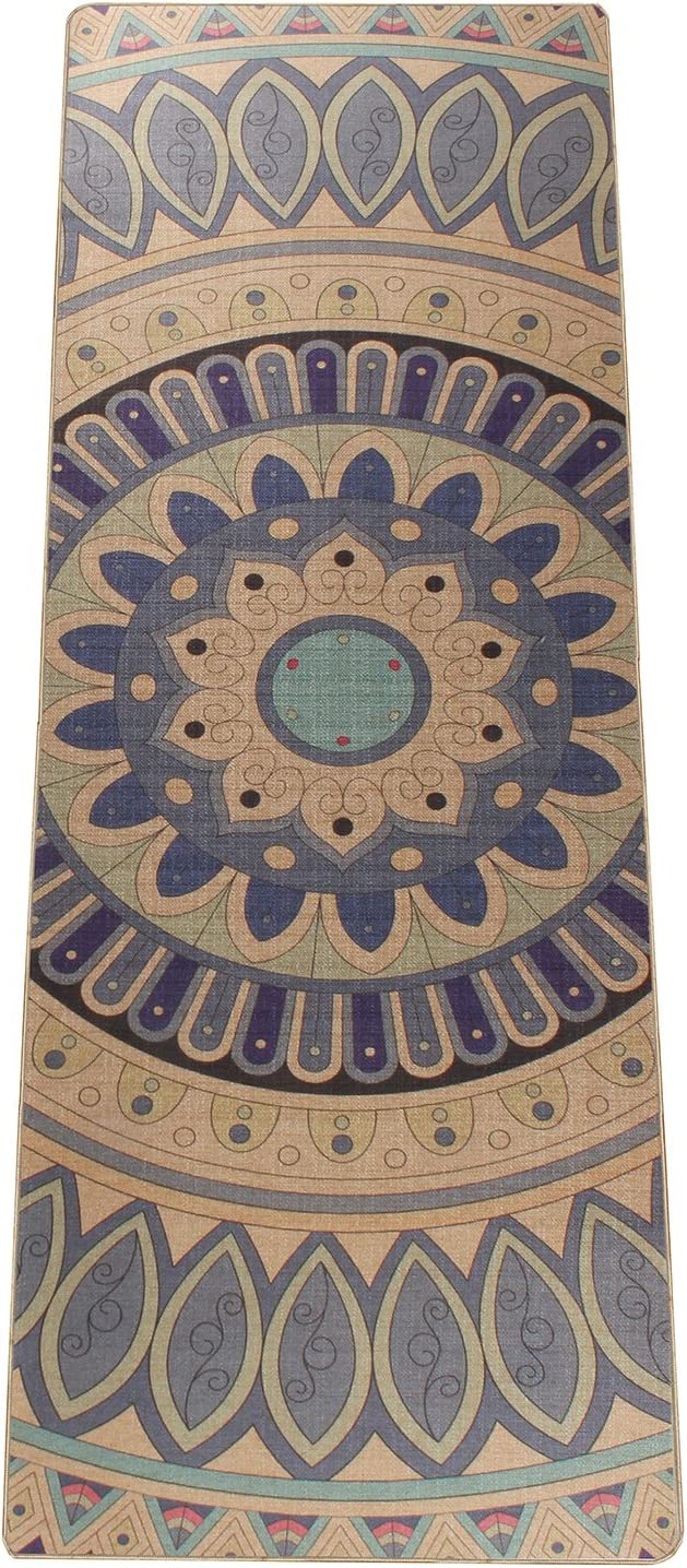 Zeronal Mandala Luxury Yoga Mat 5mm Extra Thick Non Slip Eco Natural Rubber Hand-Knitting Ideal for Hot Power Yoga Gym Bikram Ashtanga Pilates Fitness