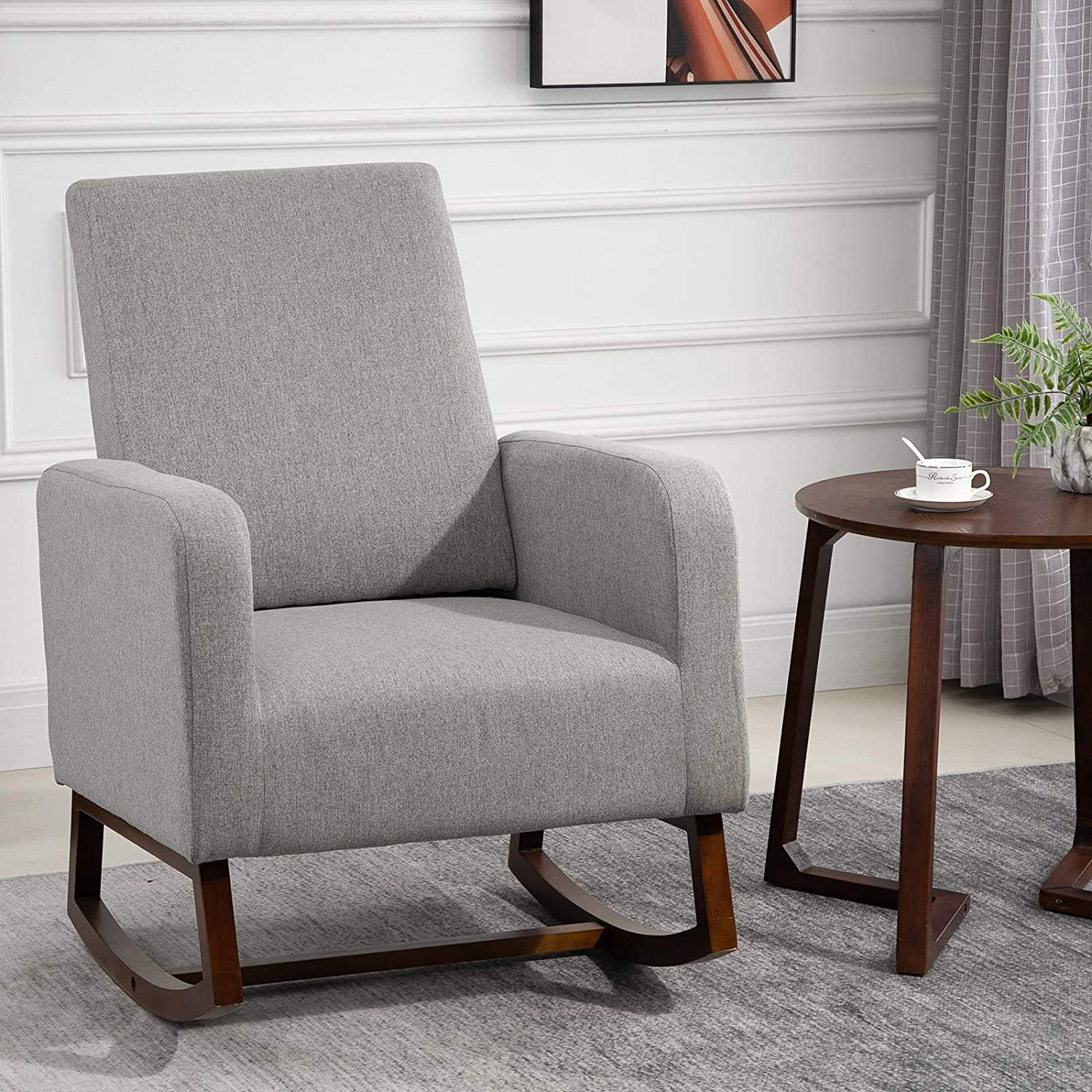Cream White HOMCOM Accent Lounge Rocking Chair with Solid Curved Wood Base and Linen Padded Seat
