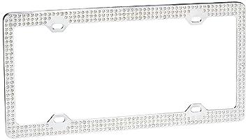 triple row white crystal license plate frame - White License Plate Frame