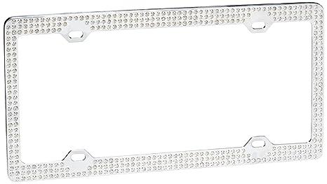 Amazon.com: Triple Row White Crystal License Plate Frame: Automotive