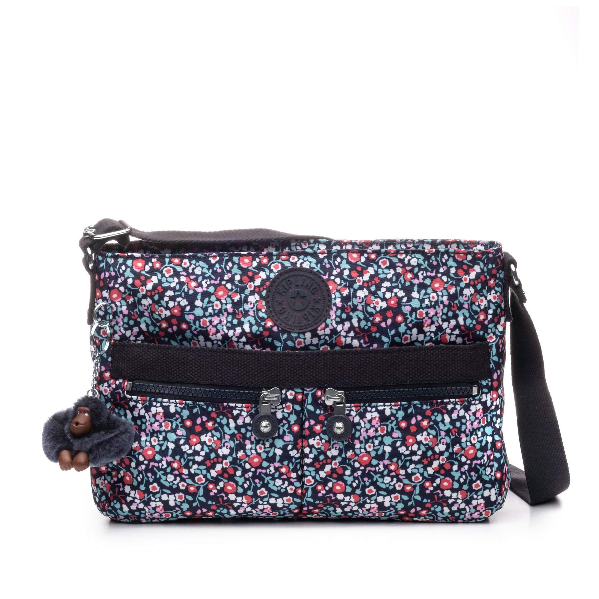 Kipling Women's Angie Crossbody Bag, Adjustable Shoulder Strap, Zip Closure, Glistening Poppy Blue