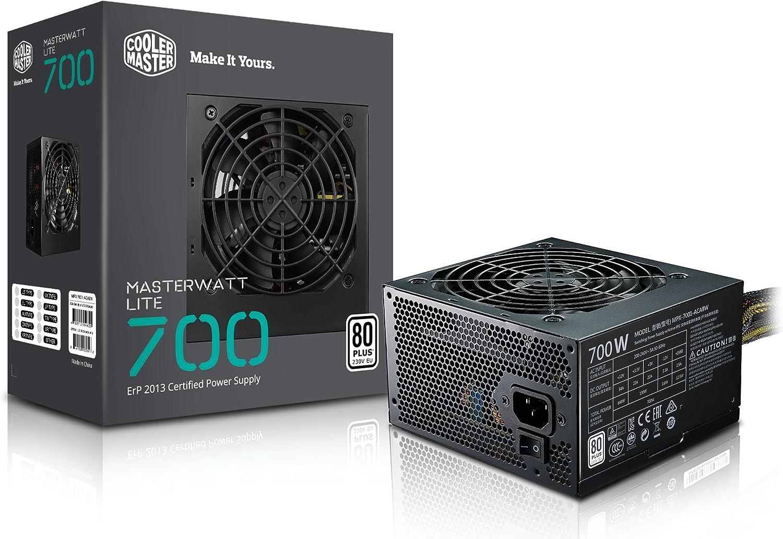 Cooler Master MasterWatt Lite 700W ATX Negro Unidad de - Fuente de alimentación (700 W, 200-240, 47-63, 3.5-5, Activo, 130 W)