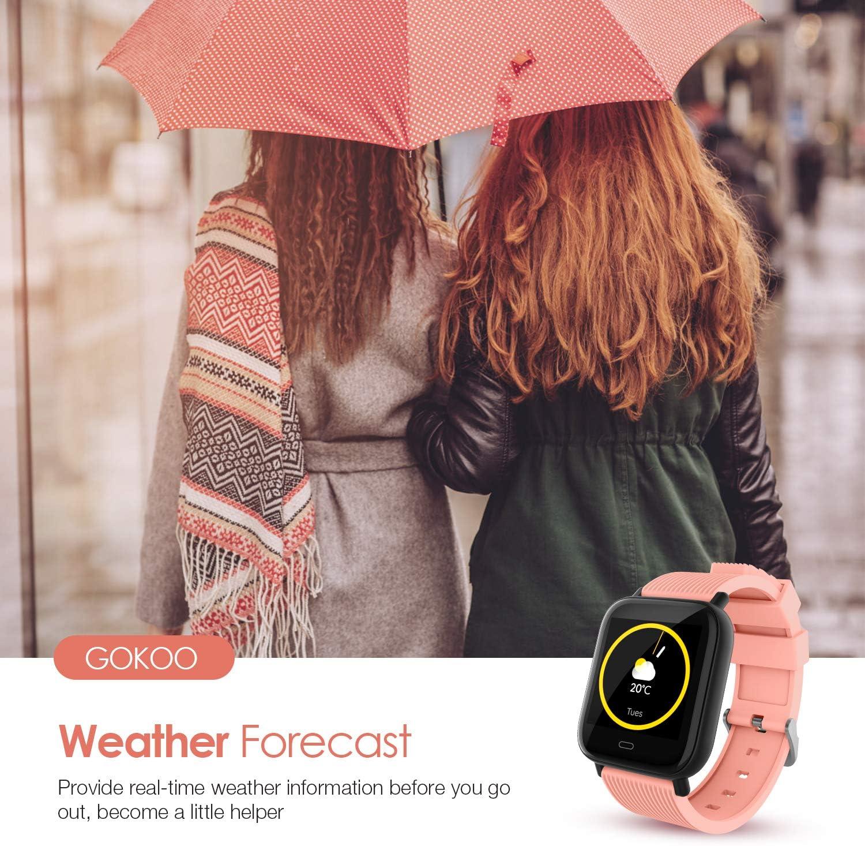 GOKOO Smartwatch Fitness Tracker Sportuhr f/ür Damen Herren Armband Uhr Voller Touch Screen Uhr IP68 Wasserdicht mit Schrittz/ähler Pulsuhren Stoppuhr f/ür iOS Android Handy