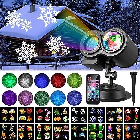 Proiettore Luci Di Natale Amazon.Halloween Proiettore Luci Natale Led Aled Light Impermeabile Proiettore Da Esterno 16 Lenti Intercambiabili Luce Lampada Natalizia Proiezione