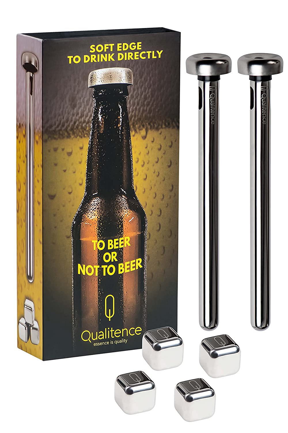 Beer Chiller Sticks & Stainless Steel Ice Cubes by Qualitence | Set of 2 Beer Chillers to keep drinks cold, smooth oval holes for drinking | Birthday Gift for Men | 4 Reusable ice cubes for whiskey