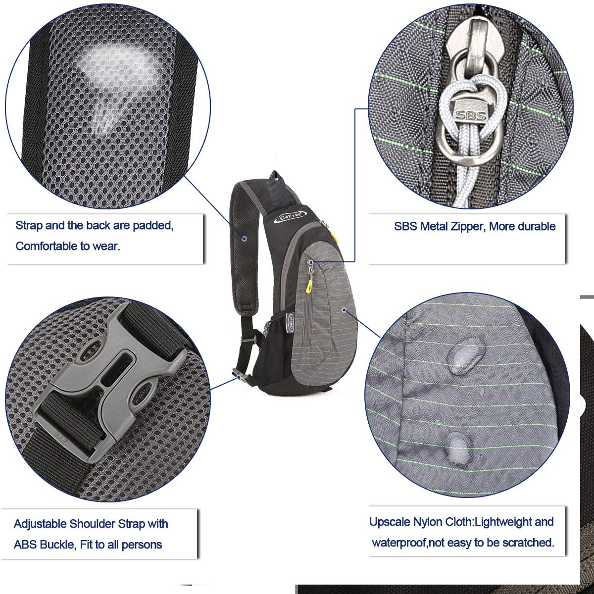G4Free Sling Bag, Casual Cross Body Bag Outdoor Shoulder Backpack Chest Pack with One Adjustable Strap for Men Cycling Hiking(Black-Grey) by G4Free (Image #4)