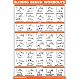 QuickFit Sliding Bench Workout Poster - Compatible with Total Gym, Weider Ultimate Body Works - Incline Bench Exercise Chart